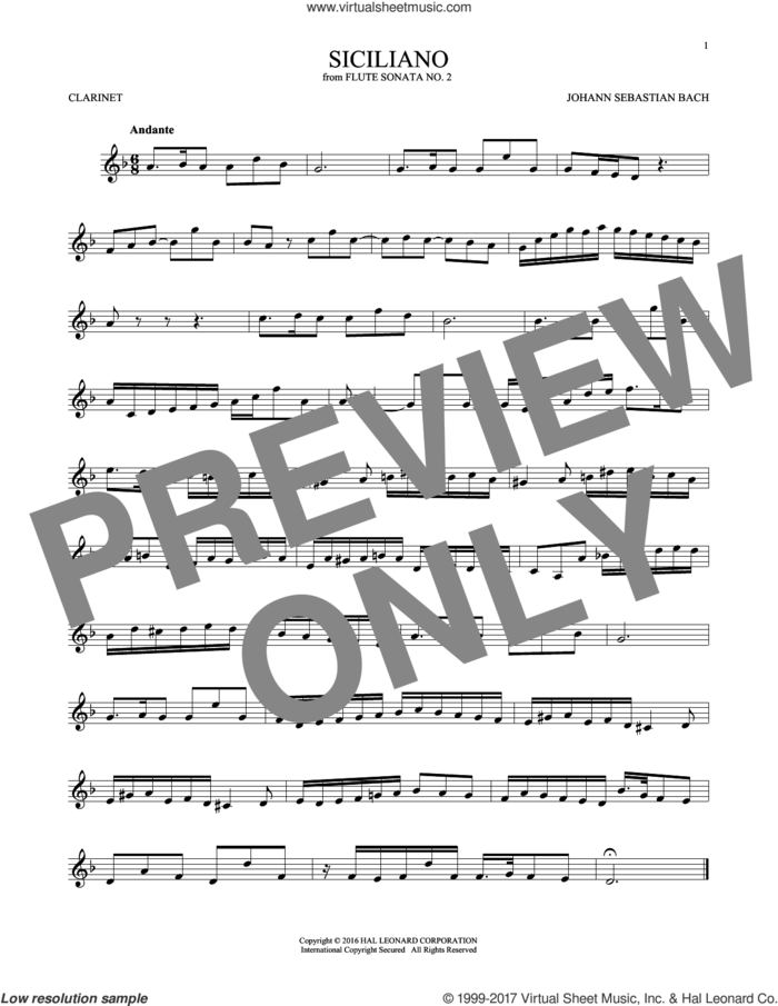 Siciliano sheet music for clarinet solo by Johann Sebastian Bach, classical score, intermediate skill level