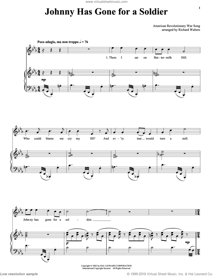 Johnny Has Gone For A Soldier sheet music for voice, piano or guitar, intermediate skill level