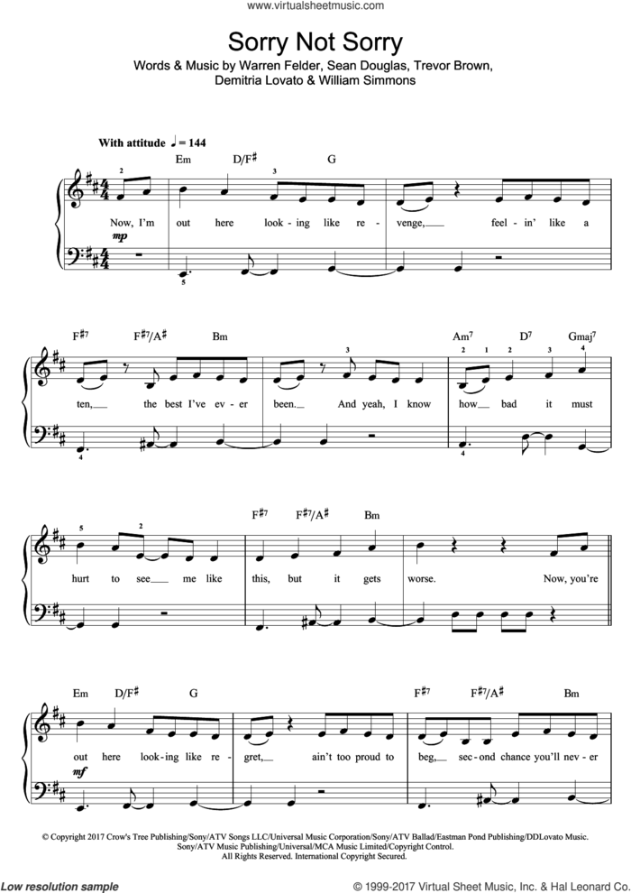 Sorry Not Sorry sheet music for piano solo (beginners) by Demi Lovato, Demitria Lovato, Sean Douglas, Trevor Brown, Warren Felder and William Simmons, beginner piano (beginners)