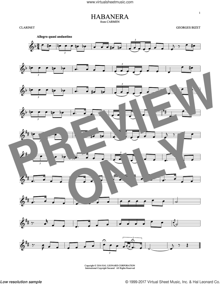 Habanera sheet music for clarinet solo by Georges Bizet, classical score, intermediate skill level