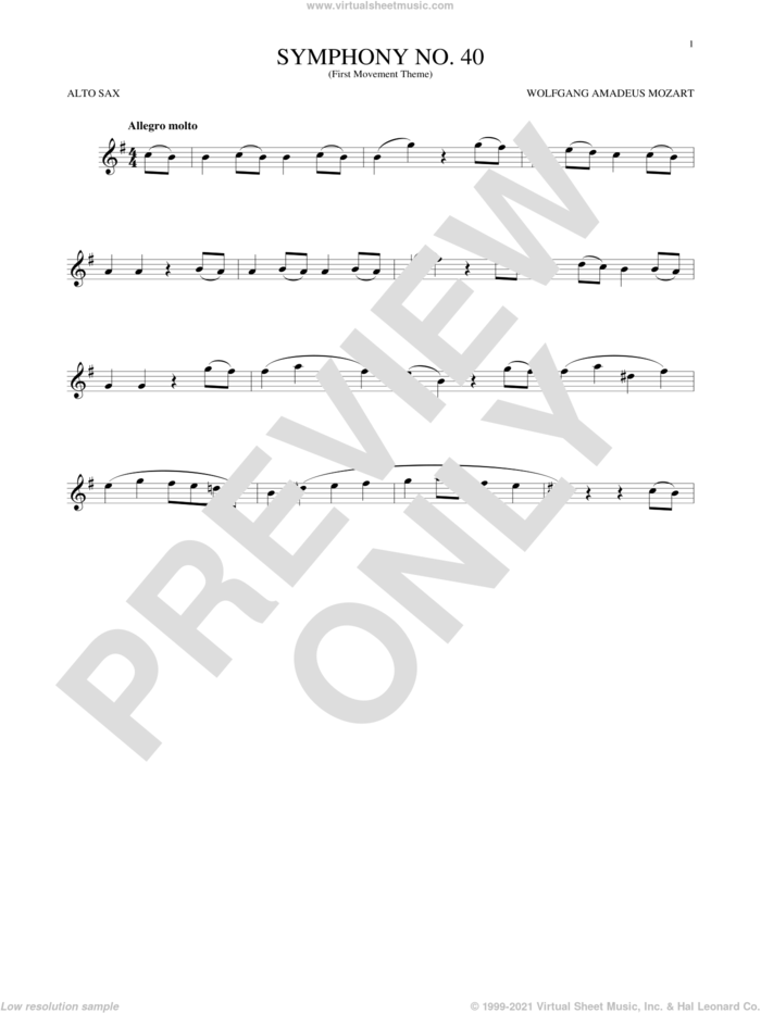 Symphony No. 40 In G Minor, First Movement Excerpt sheet music for alto saxophone solo by Wolfgang Amadeus Mozart, classical score, intermediate skill level