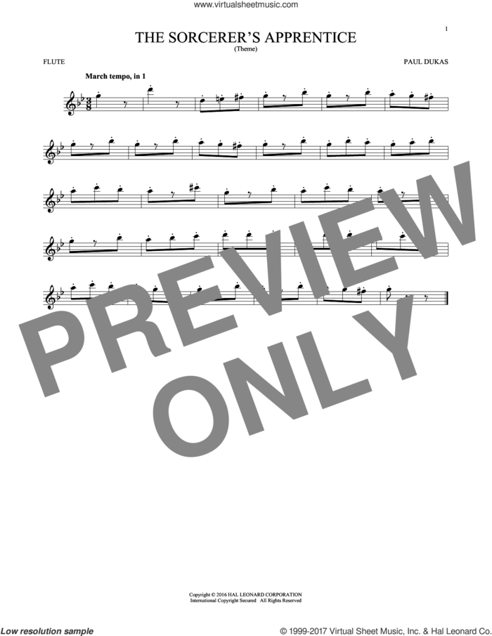 The Sorcerer's Apprentice sheet music for flute solo by Paul Dukas, classical score, intermediate skill level