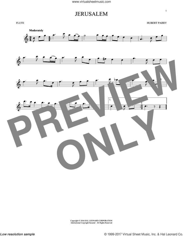 Jerusalem sheet music for flute solo by C.H. Parry, intermediate skill level