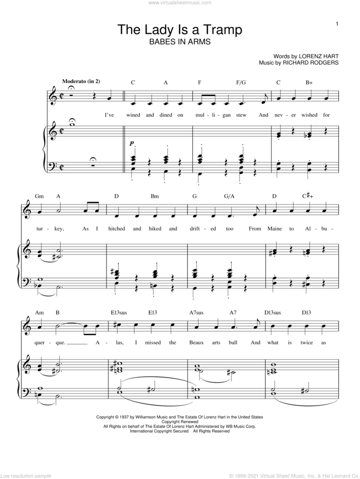 The Lady Is A Tramp sheet music for voice, piano or guitar by Rodgers & Hart, Babes In Arms (Musical), Ella Fitzgerald, Frank Sinatra, Lena Horne, Lorenz Hart and Richard Rodgers, intermediate skill level