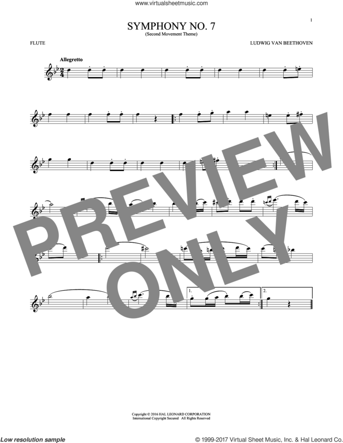 Symphony No. 7 In A Major, Second Movement (Allegretto) sheet music for flute solo by Ludwig van Beethoven, classical score, intermediate skill level