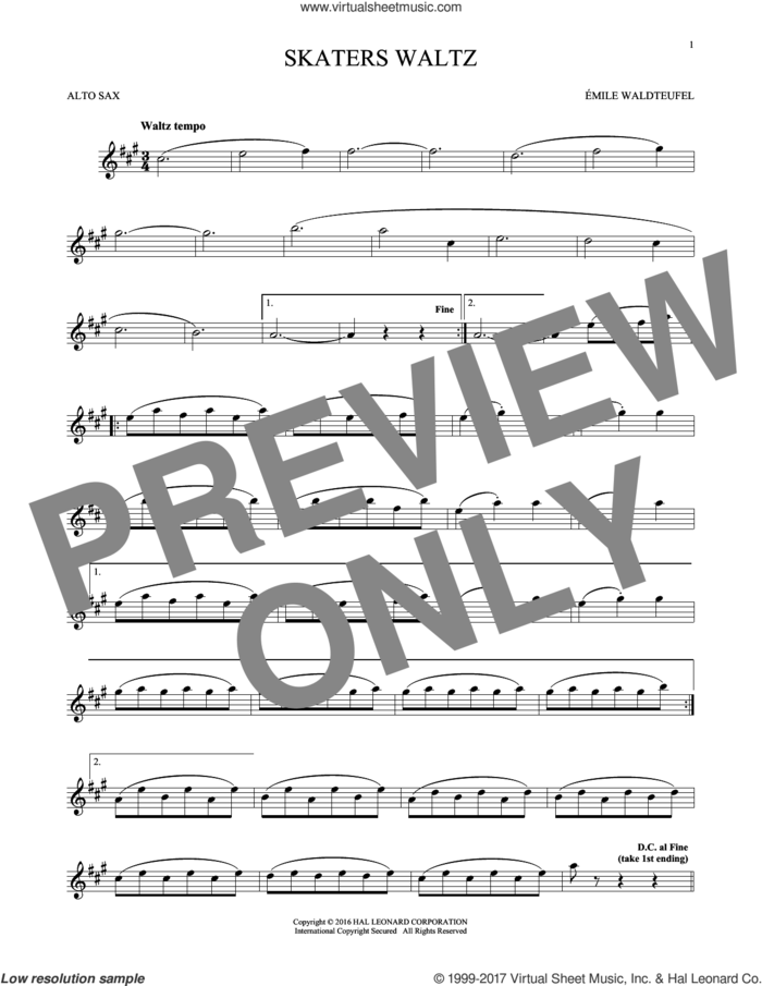 The Skaters (Waltz) sheet music for alto saxophone solo by Emile Waldteufel, classical score, intermediate skill level