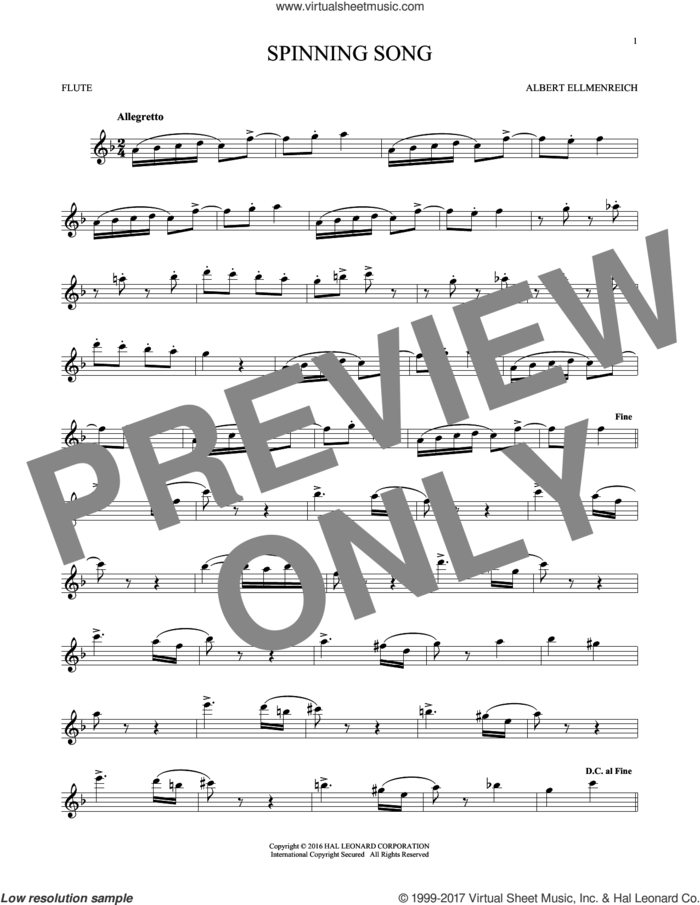 Spinning Song sheet music for flute solo by Albert Ellmenreich, classical score, intermediate skill level