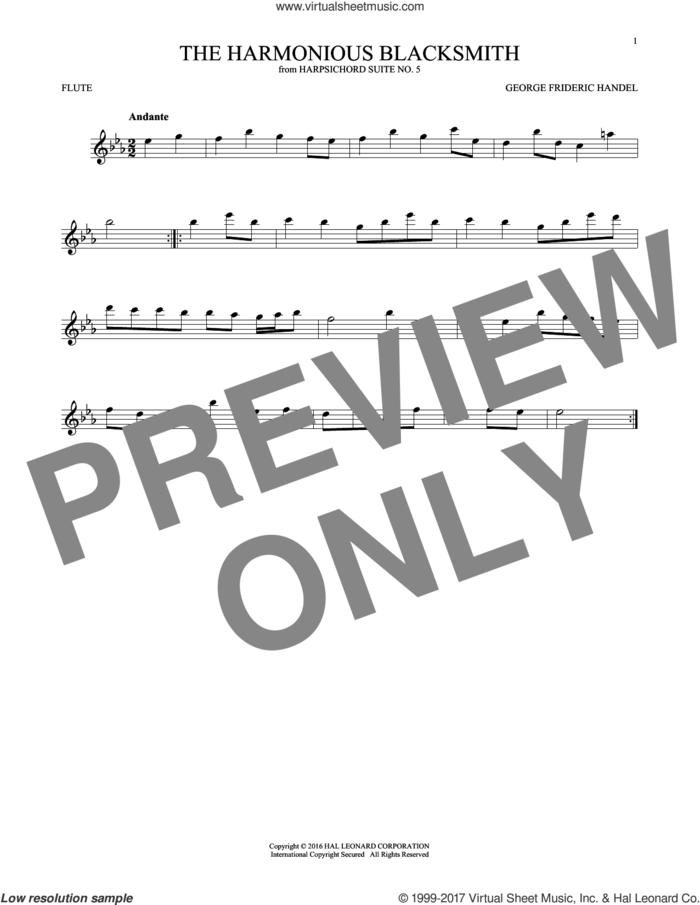 Harmonious Blacksmith sheet music for flute solo by George Frideric Handel, classical score, intermediate skill level