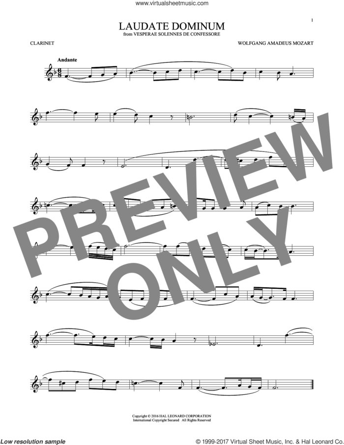 Laudate Dominum sheet music for clarinet solo by Wolfgang Amadeus Mozart, classical score, intermediate skill level