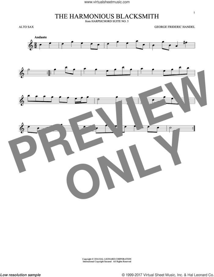 Harmonious Blacksmith sheet music for alto saxophone solo by George Frideric Handel, classical score, intermediate skill level