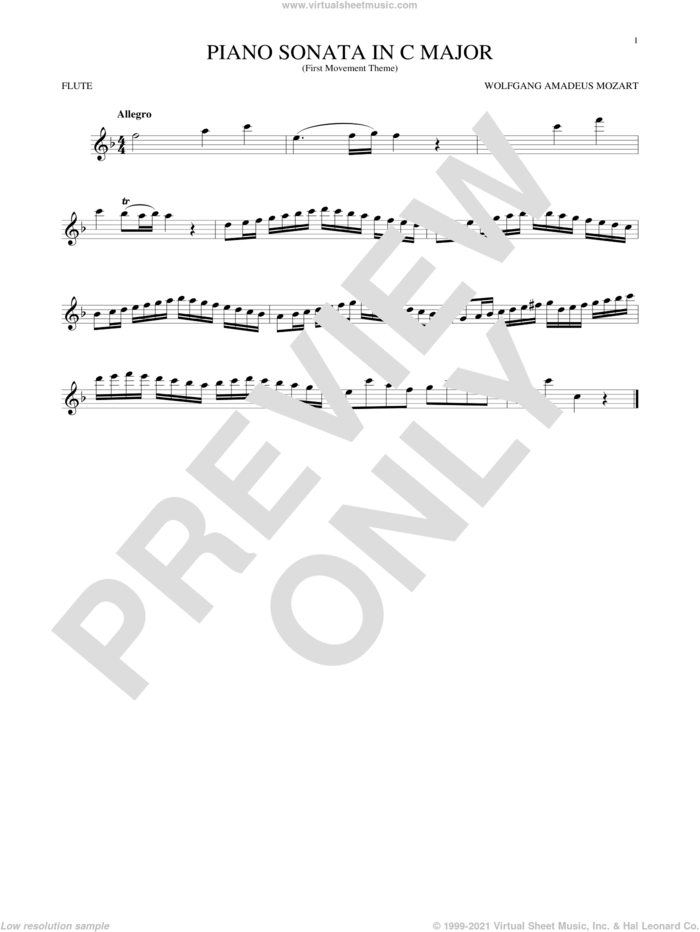 Piano Sonata In C Major sheet music for flute solo by Wolfgang Amadeus Mozart, classical score, intermediate skill level