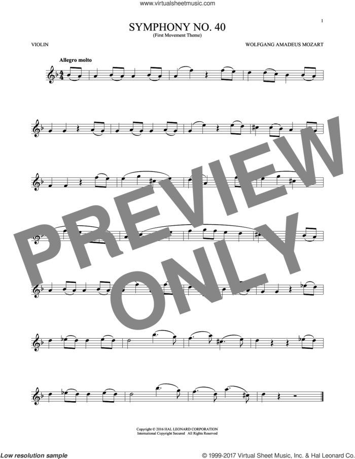 Symphony No. 40 In G Minor, First Movement Excerpt sheet music for violin solo by Wolfgang Amadeus Mozart, classical score, intermediate skill level