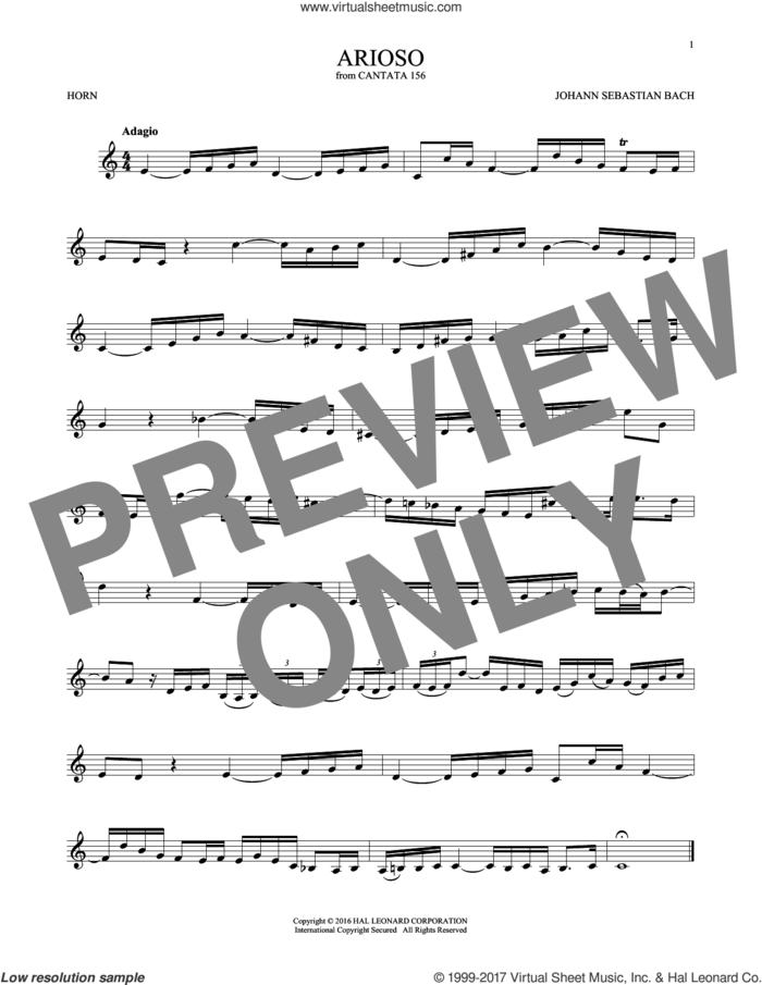 Arioso sheet music for horn solo by Johann Sebastian Bach, classical score, intermediate skill level