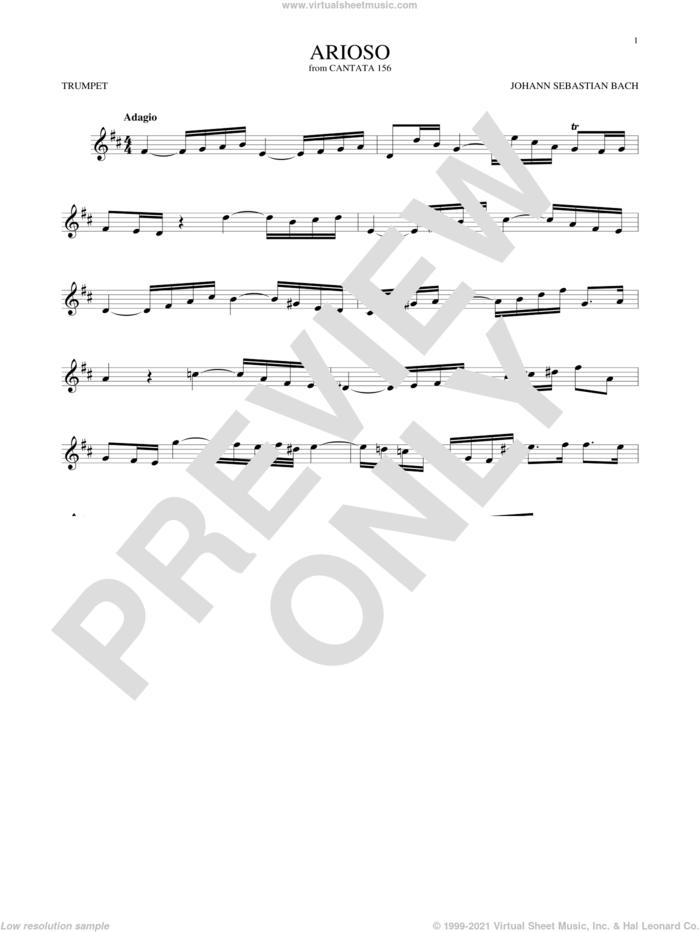 Arioso sheet music for trumpet solo by Johann Sebastian Bach, classical score, intermediate skill level