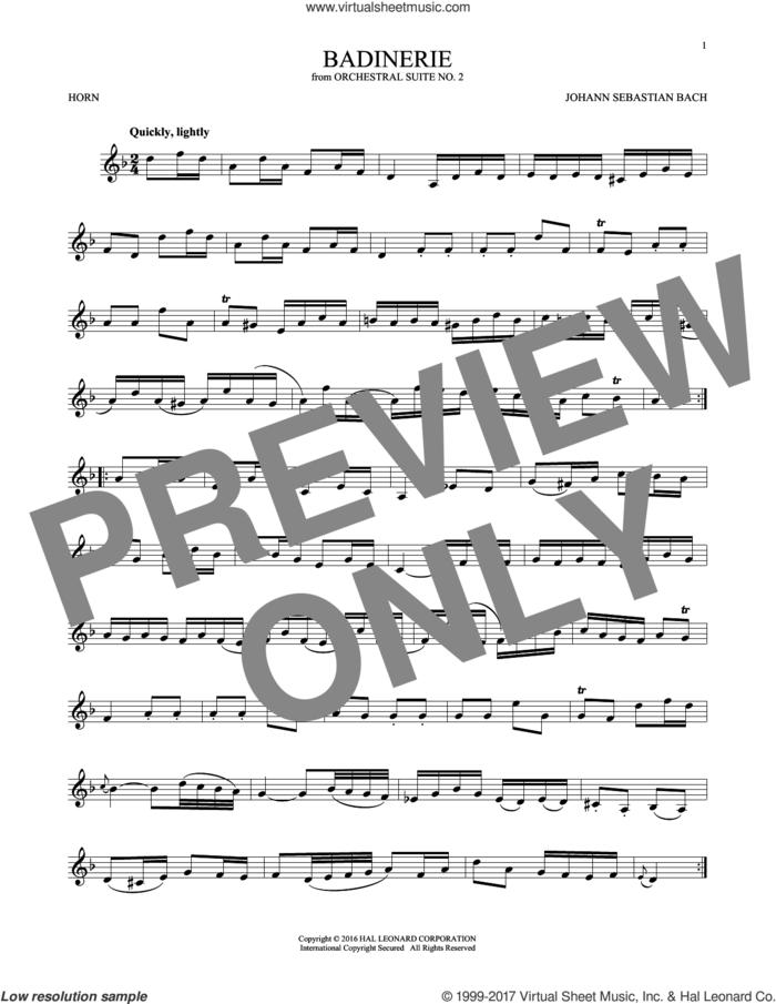 Badinerie (Suite No. 2) sheet music for horn solo by Johann Sebastian Bach, classical score, intermediate skill level
