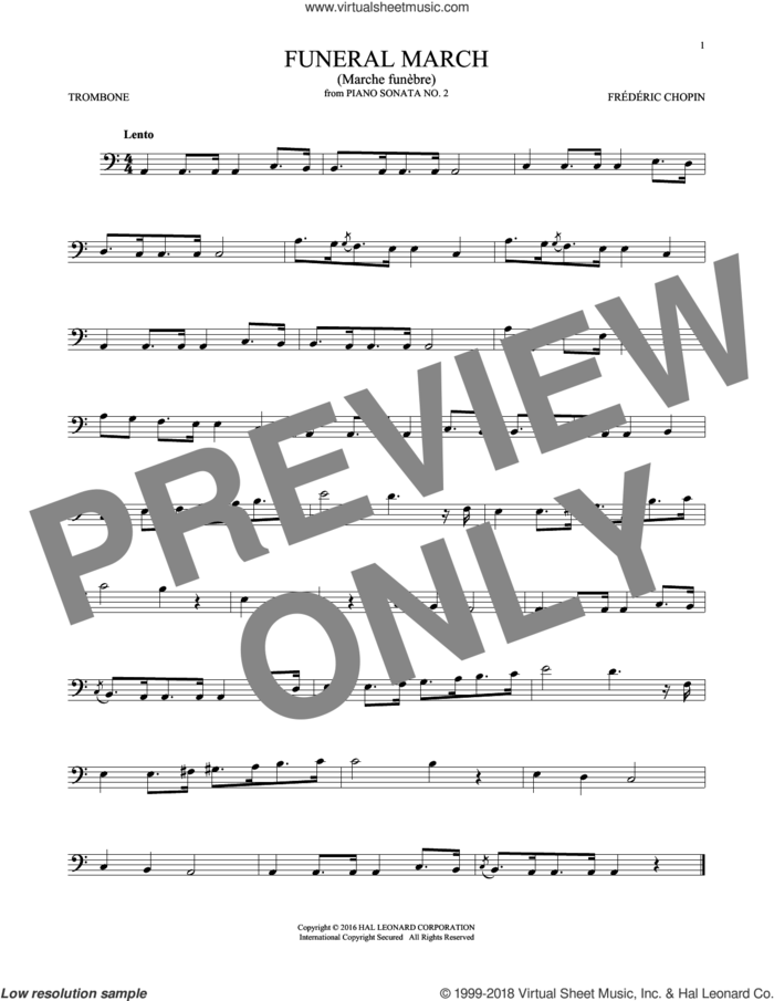 Funeral March sheet music for trombone solo by Frederic Chopin, classical score, intermediate skill level