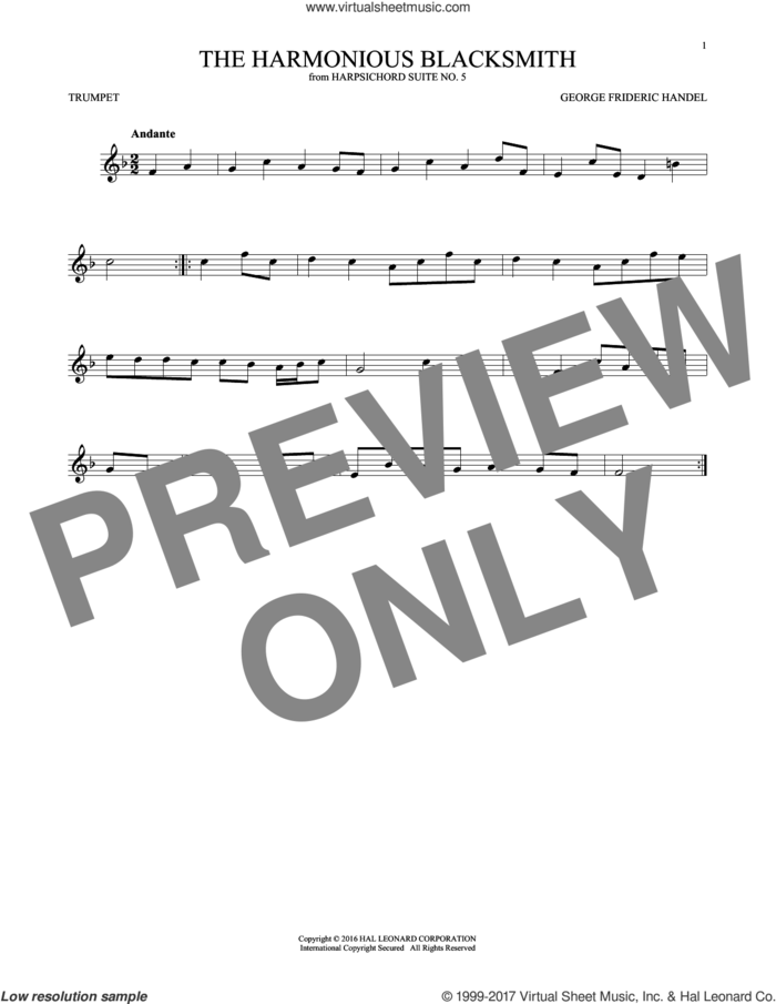 Harmonious Blacksmith sheet music for trumpet solo by George Frideric Handel, classical score, intermediate skill level