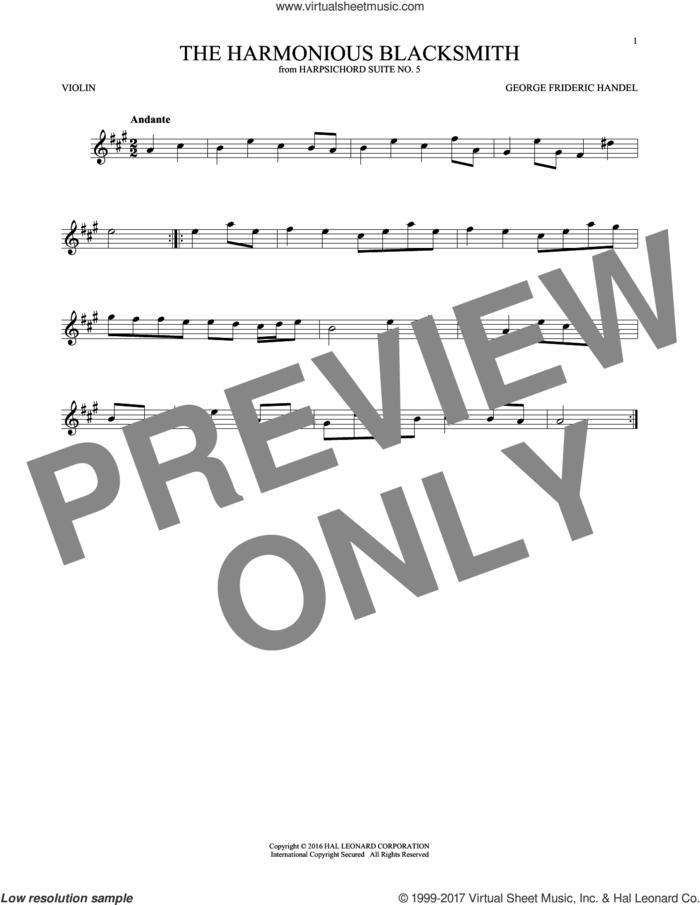 Harmonious Blacksmith sheet music for violin solo by George Frideric Handel, classical score, intermediate skill level