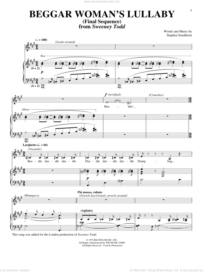 Beggar Woman's Lullaby (Final Sequence) sheet music for voice and piano by Stephen Sondheim, intermediate skill level