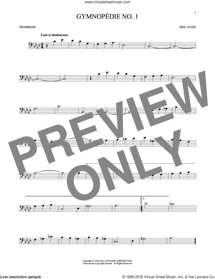 Gymnopedie No. 1 sheet music for trombone solo by Erik Satie, classical score, intermediate skill level