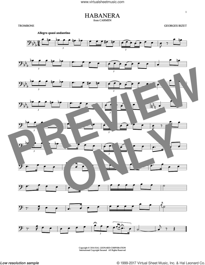 Habanera sheet music for trombone solo by Georges Bizet, classical score, intermediate skill level