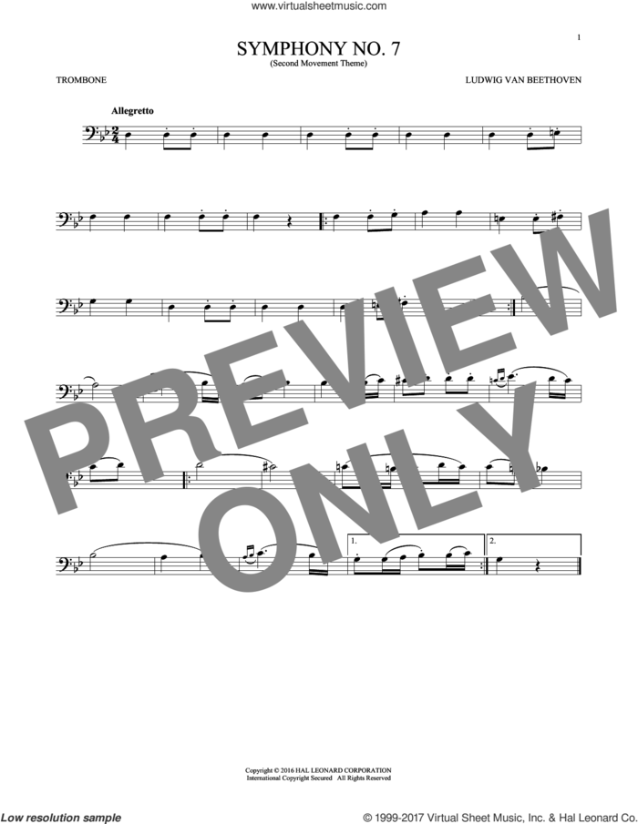 Symphony No. 7 In A Major, Second Movement (Allegretto) sheet music for trombone solo by Ludwig van Beethoven, classical score, intermediate skill level