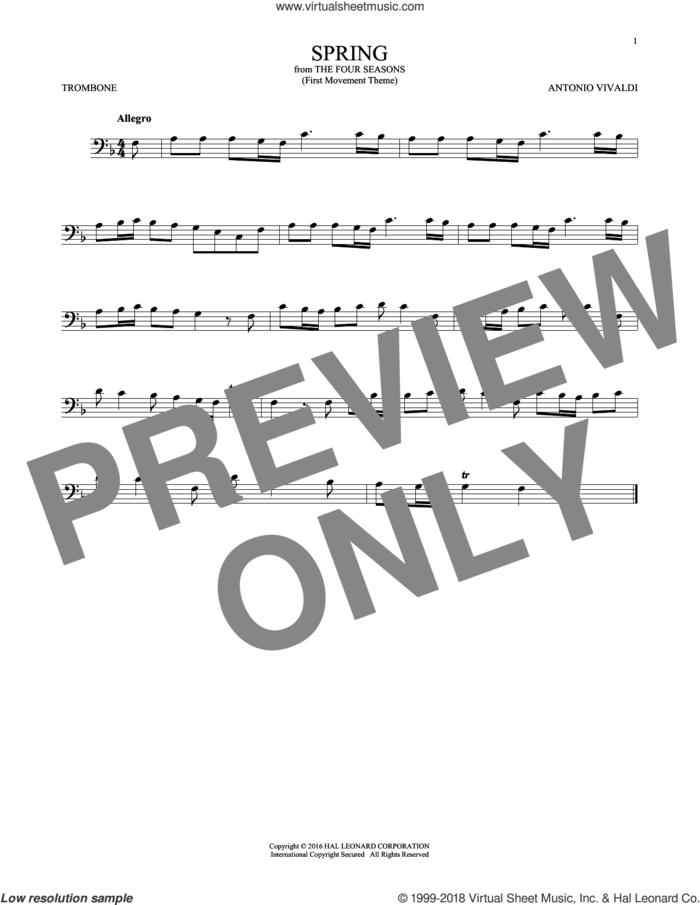 Allegro I, RV 269 ('Spring') (First Movement Theme) sheet music for trombone solo by Antonio Vivaldi, classical score, intermediate skill level