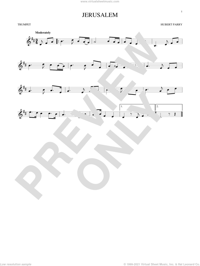 Jerusalem sheet music for trumpet solo by C.H. Parry, intermediate skill level