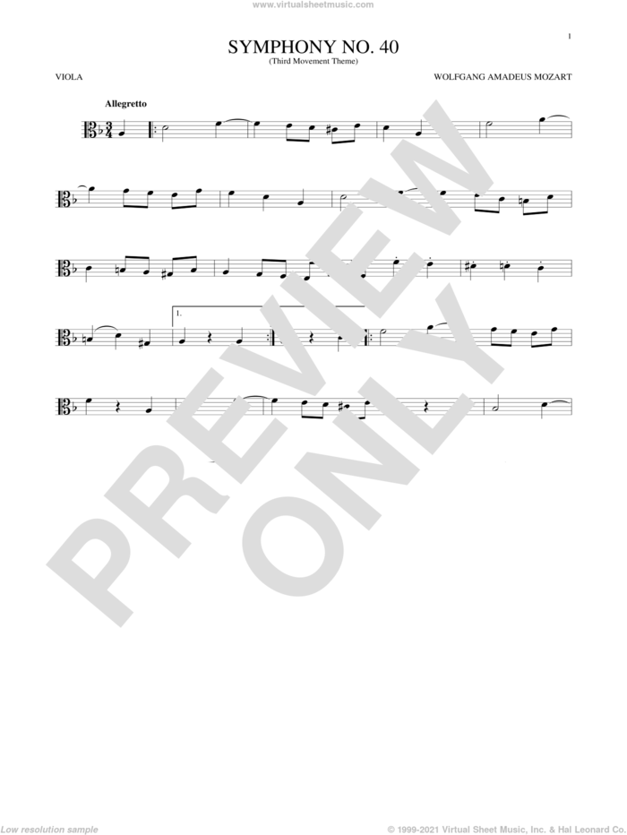 Symphony No. 40 In G Minor, Third Movement ('Minuet') sheet music for viola solo by Wolfgang Amadeus Mozart, classical score, intermediate skill level
