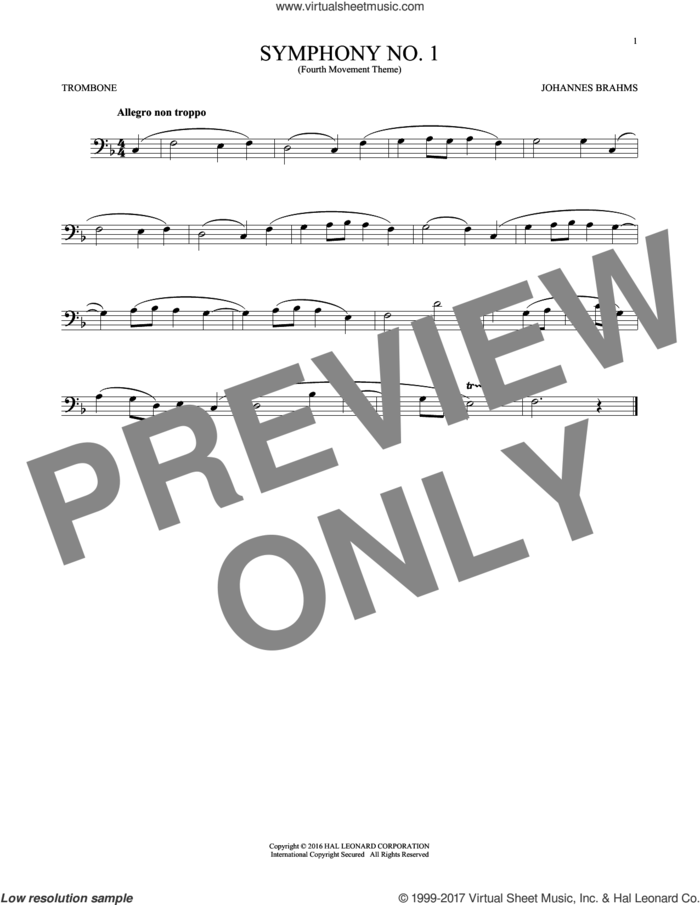 Symphony No. 1 In C Minor, Fourth Movement Excerpt sheet music for trombone solo by Johannes Brahms, classical score, intermediate skill level