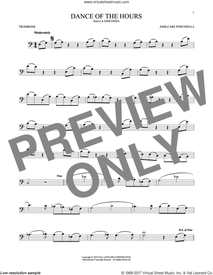 Dance Of The Hours sheet music for trombone solo by Amilcare Ponchielli, classical score, intermediate skill level