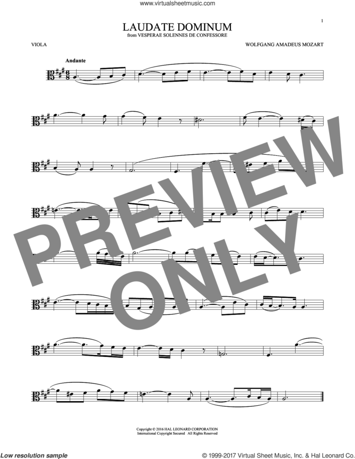 Laudate Dominum sheet music for viola solo by Wolfgang Amadeus Mozart, classical score, intermediate skill level