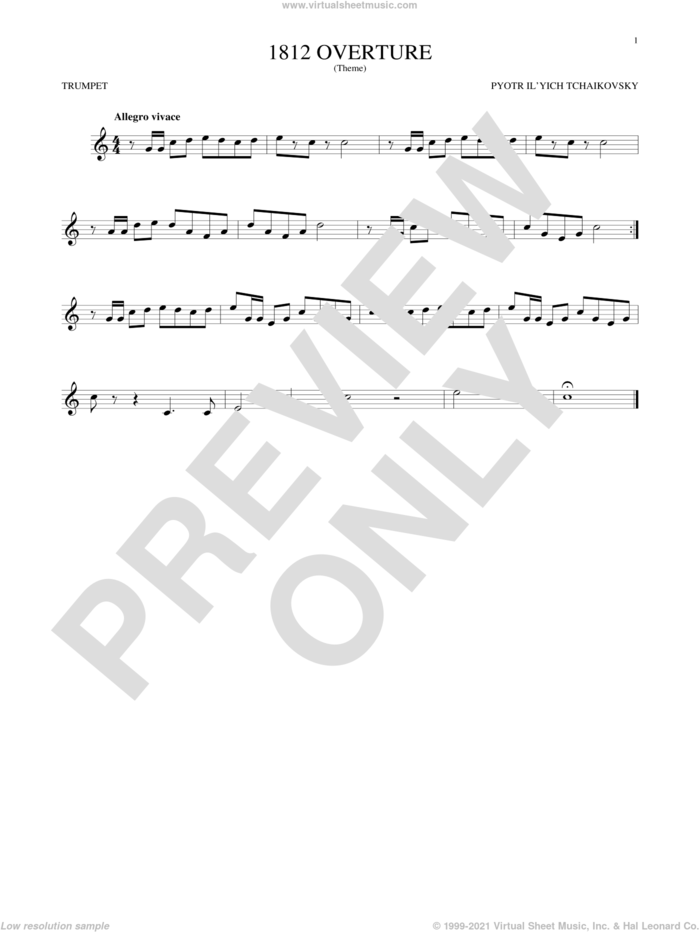 1812 Overture sheet music for trumpet solo by Pyotr Ilyich Tchaikovsky, classical score, intermediate skill level