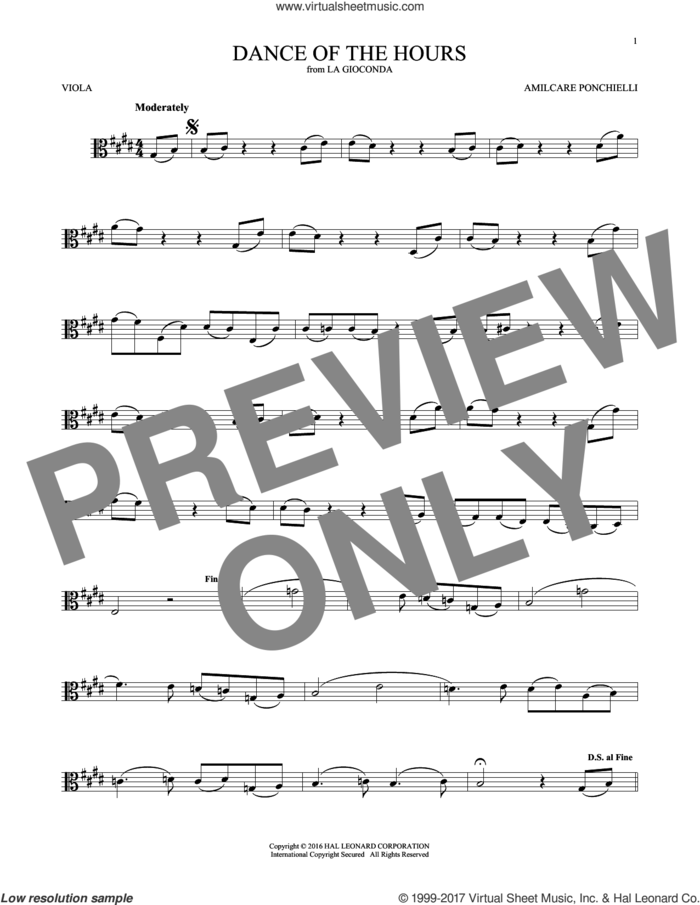 Dance Of The Hours sheet music for viola solo by Amilcare Ponchielli, classical score, intermediate skill level