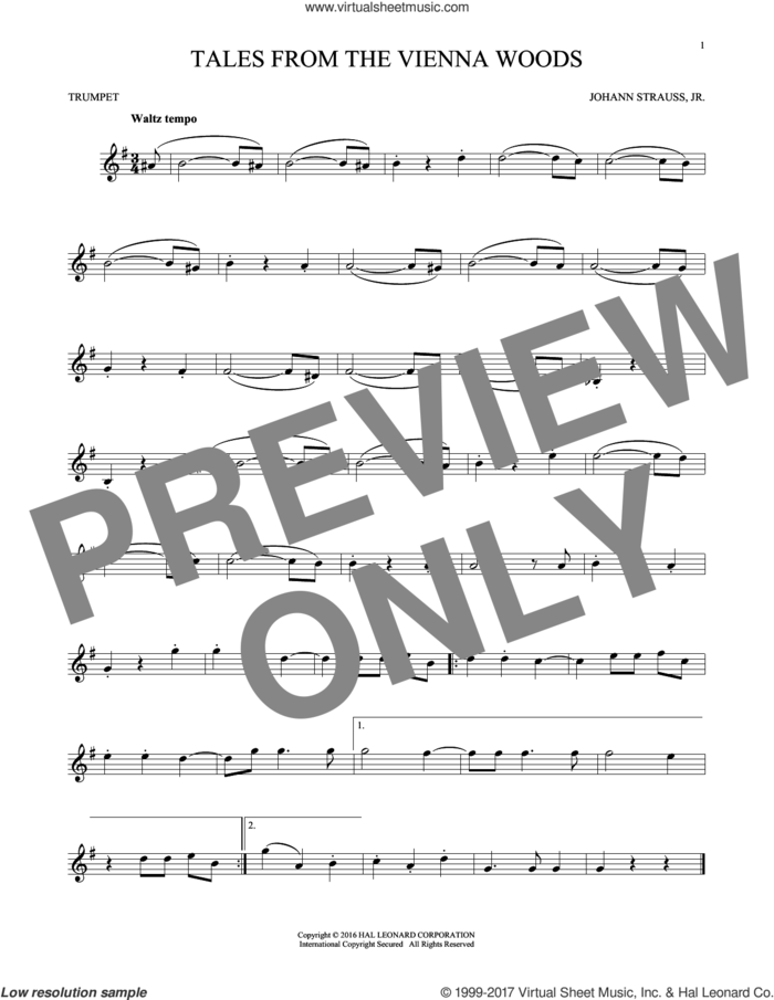 Tales From The Vienna Woods sheet music for trumpet solo by Johann Strauss, Jr., classical score, intermediate skill level