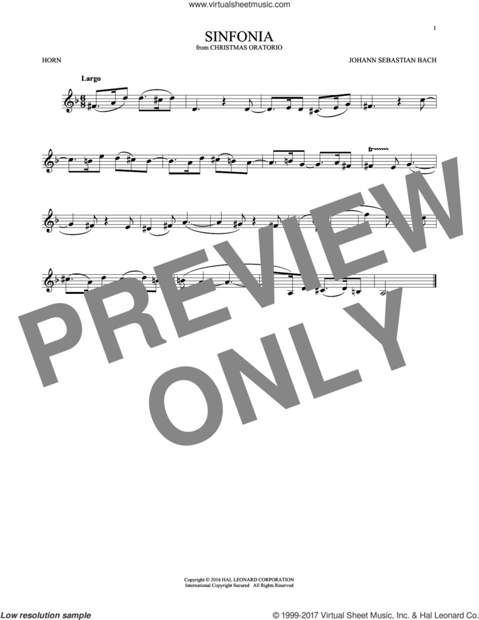 Sinfonia sheet music for horn solo by Johann Sebastian Bach, classical score, intermediate skill level