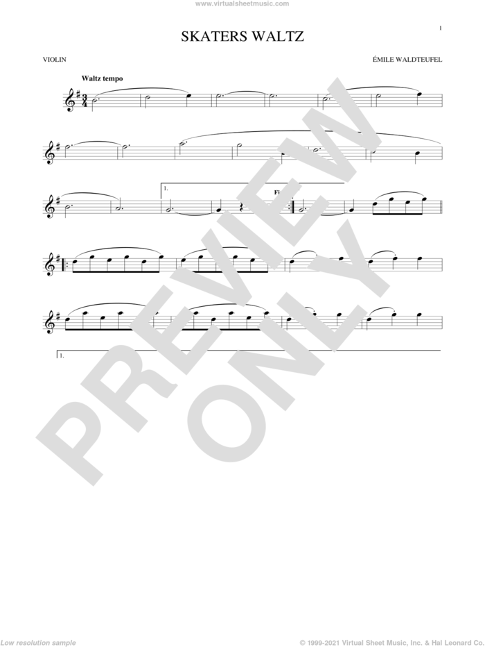 The Skaters (Waltz) sheet music for violin solo by Emile Waldteufel, classical score, intermediate skill level