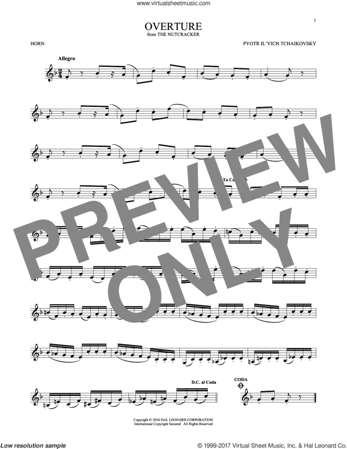 Overture sheet music for horn solo by Pyotr Ilyich Tchaikovsky, classical score, intermediate skill level