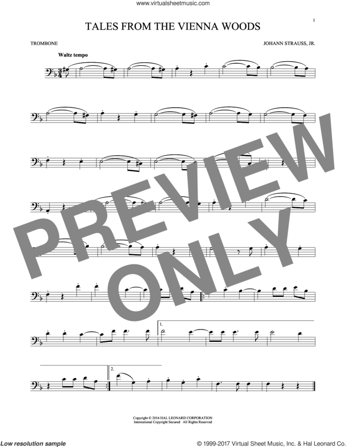 Tales From The Vienna Woods sheet music for trombone solo by Johann Strauss, Jr., classical score, intermediate skill level