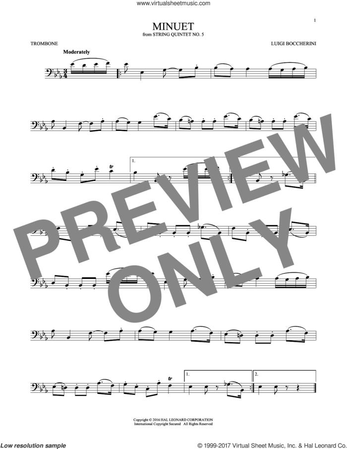 Minuet sheet music for trombone solo by Luigi Boccherini, classical score, intermediate skill level