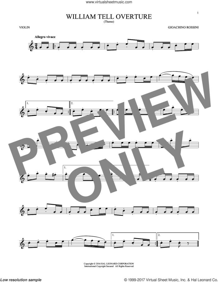 William Tell Overture sheet music for violin solo by Rossini, Gioacchino, classical score, intermediate skill level