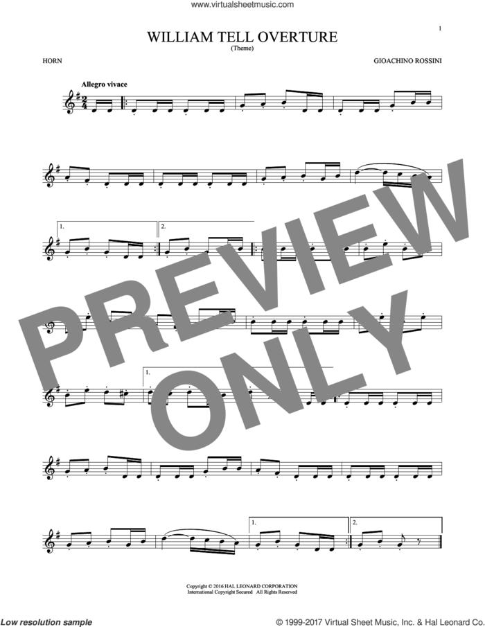 William Tell Overture sheet music for horn solo by Rossini, Gioacchino, classical score, intermediate skill level