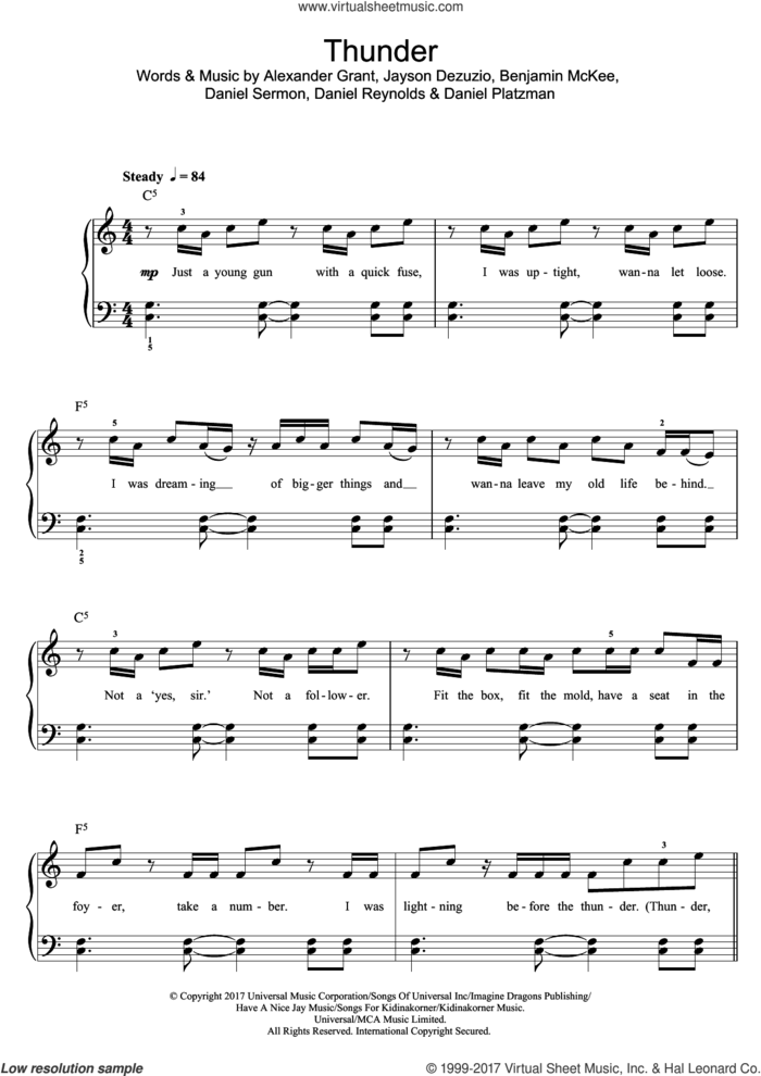 Thunder sheet music for piano solo (beginners) by Imagine Dragons, Alexander Grant, Benjamin McKee, Daniel Platzman, Daniel Reynolds, Daniel Sermon and Jayson Dezuzio, beginner piano (beginners)