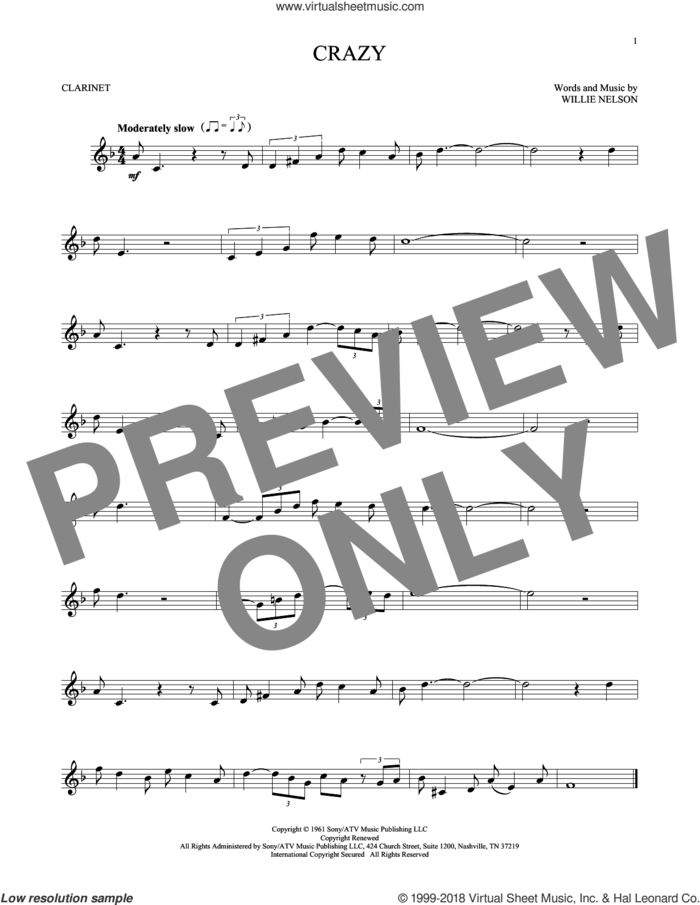 Crazy sheet music for clarinet solo by Willie Nelson and Patsy Cline, intermediate skill level