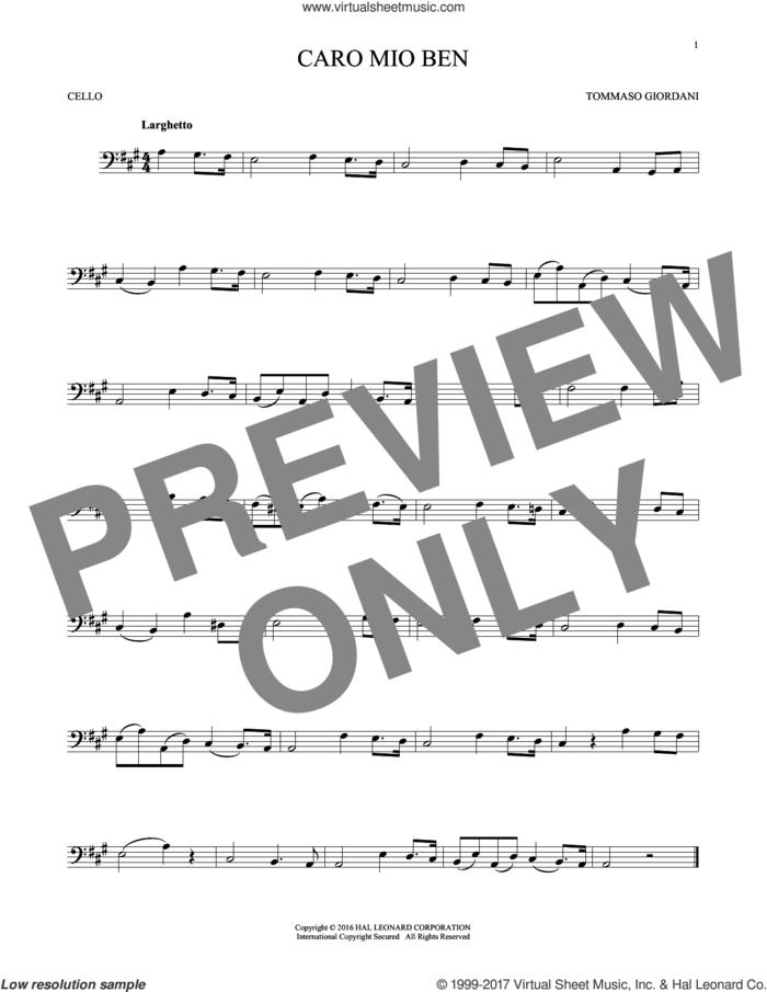 Caro Mio Ben sheet music for cello solo by Tommaso Giordani and Anonymous Italian poem, classical score, intermediate skill level