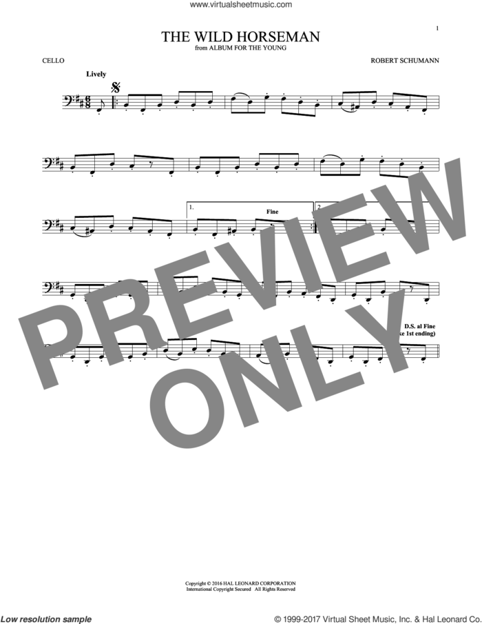 The Wild Horseman (Wilder Reiter), Op. 68, No. 8 sheet music for cello solo by Robert Schumann, classical score, intermediate skill level
