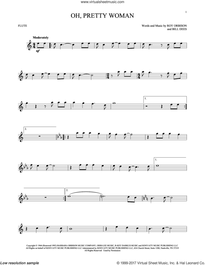 Oh, Pretty Woman sheet music for flute solo by Roy Orbison and Bill Dees, intermediate skill level