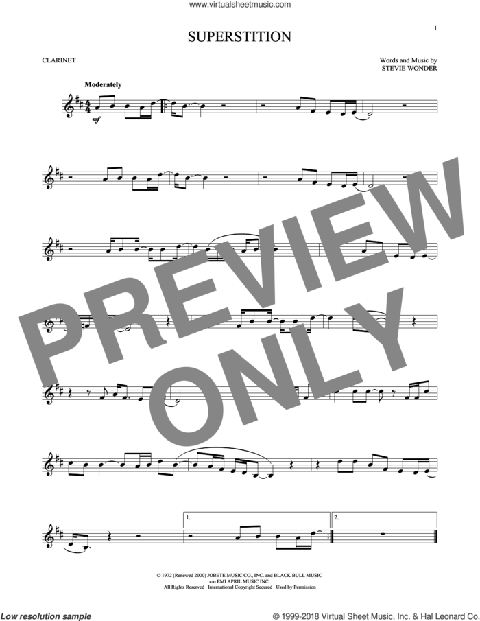 Superstition sheet music for clarinet solo by Stevie Wonder, intermediate skill level