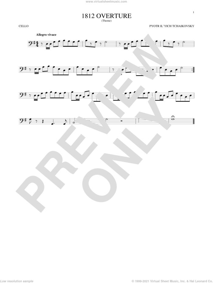 1812 Overture sheet music for cello solo by Pyotr Ilyich Tchaikovsky, classical score, intermediate skill level