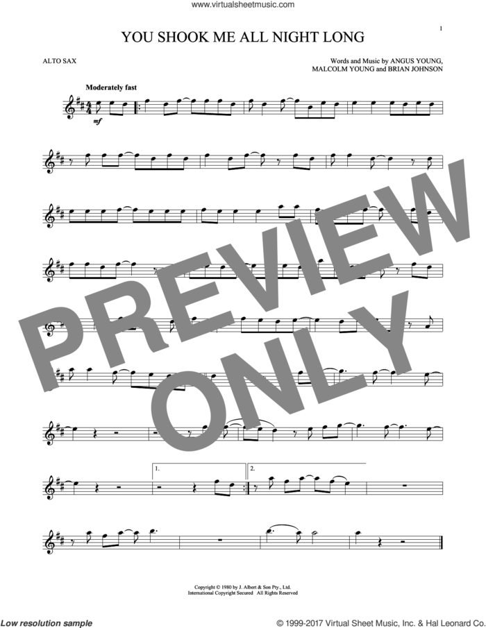 You Shook Me All Night Long sheet music for alto saxophone solo by AC/DC, Angus Young, Brian Johnson and Malcolm Young, intermediate skill level